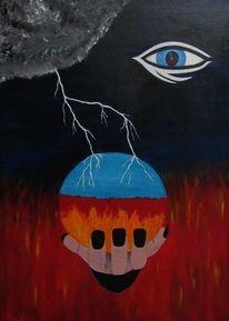 Augen, Surreal, Feuer, Kugel