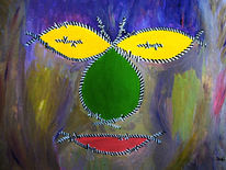 Gesicht, Stacheldraht, Abstrakt, Acrylmalerei