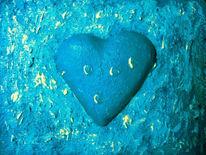 Blau, Acrylmalerei, Herz, Herzen