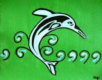 Grün, Delfin, Tribal, Malerei