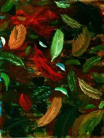 Blätter, Kruschd, Acrylmalerei, Feder