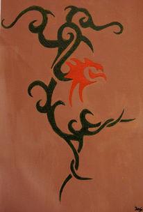 Tribal, Grün, Acrylmalerei, Skizze