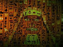Kopf, Acrylmalerei, Hyroglyphen, Tal