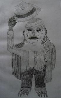 Sumpf, Anzug, Monster, Bleistiftzeichnung