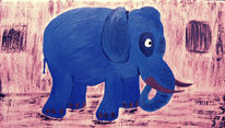 Tiere, Blau, Comic, Acrylmalerei