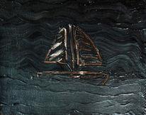 Boot, See, Malerei, Acrylmalerei