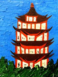 China, Himalaya, Acrylmalerei, Gebäude