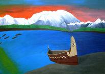 Reise, Blau, Wasser, Acrylmalerei