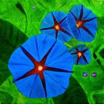 Malerei, Trichterwinde, Ölmalerei, Blumen