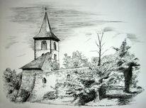 Thüringen, Zeichnung, Kirche, Landschaft