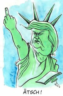 Cartoon, Amerika, Donald trump, Karikatur