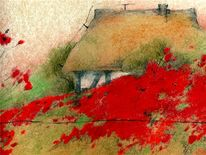 Malerei, Landschaft, Mohn