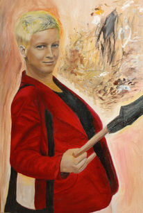 Malerei, Portrait, Frau, Junge