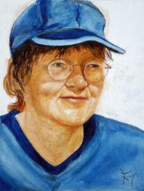 Blau, Frau, Frauenportrait, Mütze