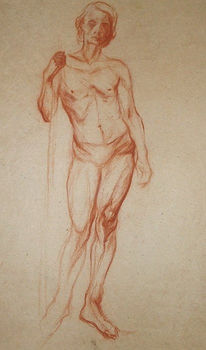 Kreide, Mann, Akt, Zeichnung