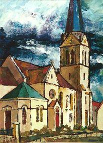 Himmel, Landschaft, Kirche, Realismus