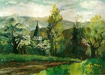 Grün, Realismus, Landschaft, Kirche