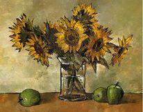 Glas, Blumen, Malerei, Stillleben