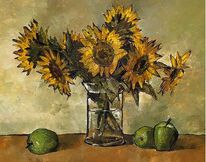 Sonnenblumen, Apfel, Glas, Malerei