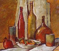 Malerei, Flasche, Stillleben, Granatapfel