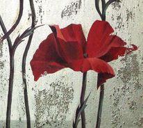 Acrylmalerei, Malerei, Mohn, Blumen