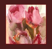 Natur, Tulpen, Rosa, Aquarellmalerei