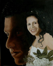 Portrait, Realismus, Brautpaar, Figural