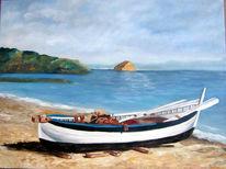 Strand, Boot, Wolken, Landschaft