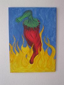 Acrylmalerei, Chili, Pinsel, Malerei
