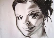 Schwarzweiß, Zeichnung, Selbstportrait, Portrait