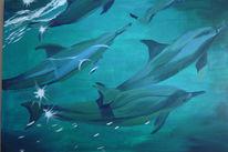 Sonnenspiegelung, Figural, Malerei, Delfin