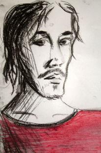 Rot, Pastellmalerei, Portrait, Mann