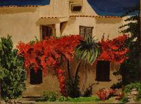Blumen, Süden, Haus, Palmen