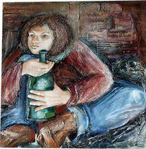 Figural, Materialarbeit, Malerei, Obdachlosigkeit