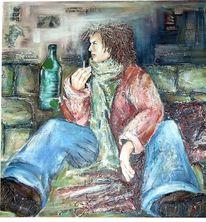 Expressionismus, Armut, Menschen, Acrylmalerei