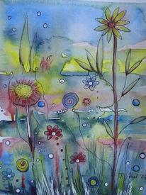 Mischtechnik, Natur, Blumen, Blüte