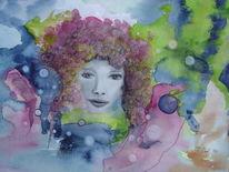 Traumwelt, Fantasie, Aquarellmalerei, Frau