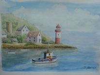 Hafen, Leuchtturm, Meer, Fischerboot