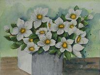 Blumen, Vase, Gegenständlich, Aquarellmalerei