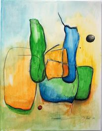 Aquarellmalerei, Fantasie, Körper, Gelb