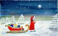 Weihnachtsmann, Nikolaus, Tannenbäume, Winter