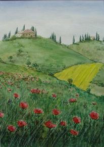 Berge, Natur, Malerei, Mohn