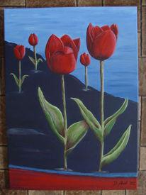 Acrylmalerei, Blau, Rot, Tulpen