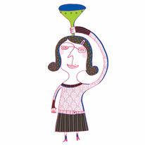 Zeichnung, Trichter, Frau, Zeichnungen