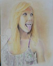 Portrait, Gesicht, Jessica alba, Buntstiftzeichnung