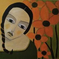Mädchen, Orange, Hoffnung, Malerei