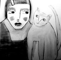 Katze, Schwarz, Muster, Malerei