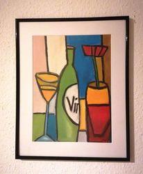 Flasche, Wein, Glas, Malerei
