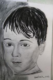 Portrait, Kohlezeichnung, Zeichnungen, Junge