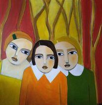 Kinder, Schwestern, Stimmung, Malerei